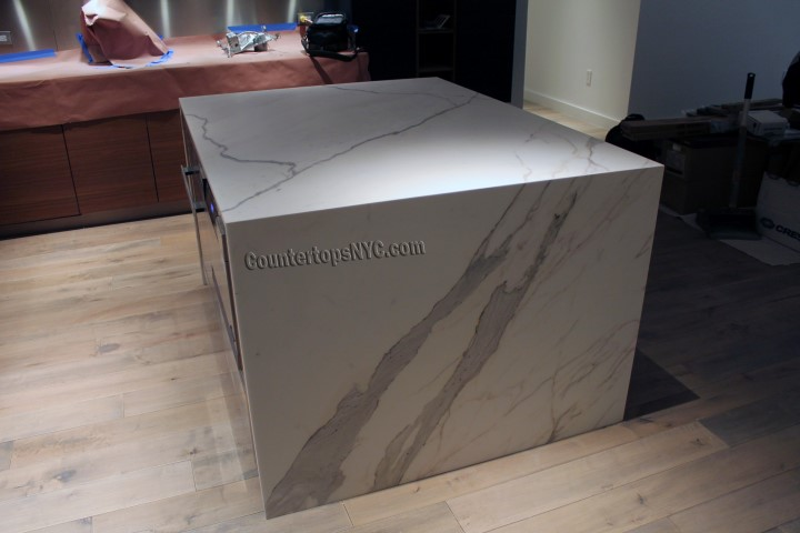 Bon Natural Stone White Marble Kitchen Island NYC