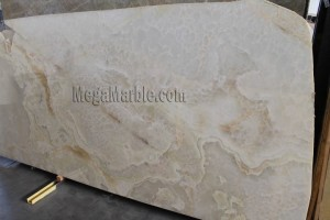 Pure white onyx slabs polished